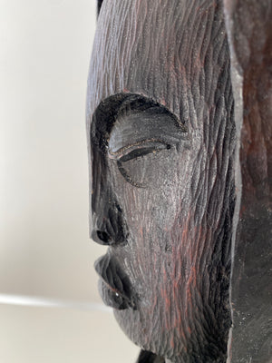 Roger Francois from Haiti Wenge Wood Carving Sculpture Woman Bust Head
