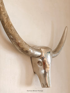 Vintage Contemporary LongHorn Steer Cow Aluminum Wall Sculpture.