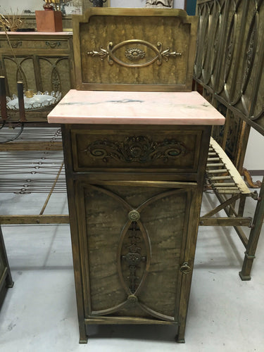 Italian Bedside Table/cabinet with Pink Marble top----SOLD