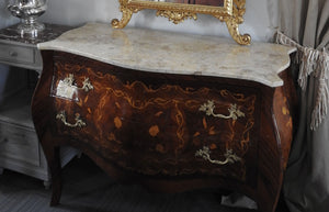 Louis XV French Cadenza 2 drawer marble top