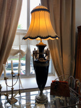 Blue Ceramic and Brass Lamps