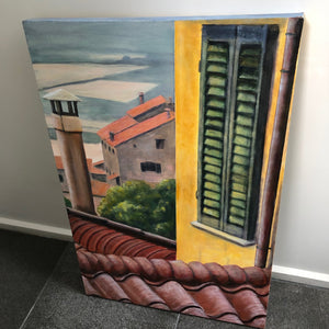 """Rooftops of Cortona""-Original  painting by Linda Haines"