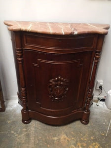 Antique Italian Marble Top Crest Credenza
