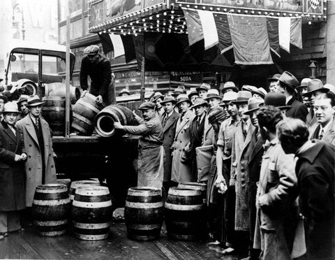 Prohibition Photo Unloading Barrels