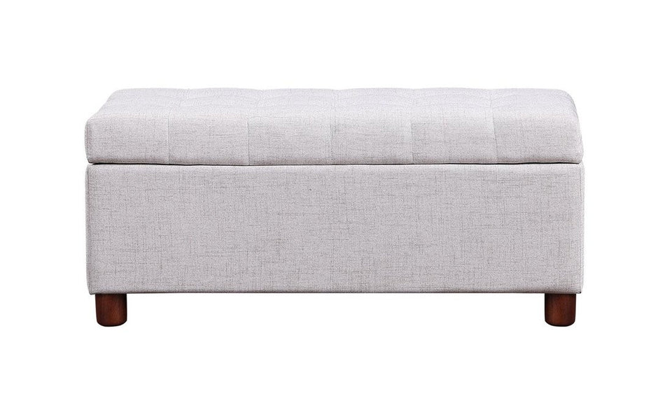 39'' Storage Bench Tufted Linen Fabric Ottoman Storage Bench