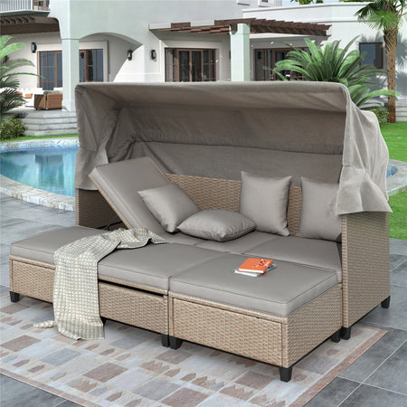 4 Piece UV-Proof Resin Wicker Patio Sofa Set