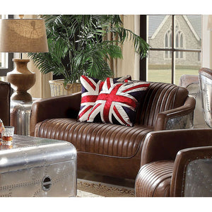 Brancaster Loveseat in Retro Brown Top Grain Leather and Aluminum