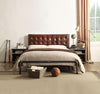 Brancaster Queen Bed in Vintage Brown Top Grain Leather