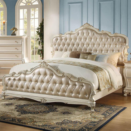 Chantelle Queen Bed in Rose Gold PU | Pearl White