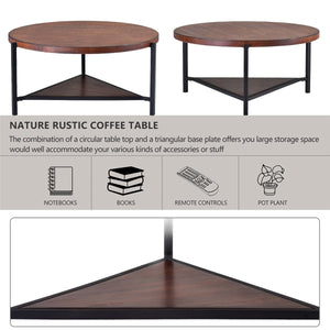 Coffee Table Round Industrial Design Metal Legs with Storage Open Shelf for Living Room