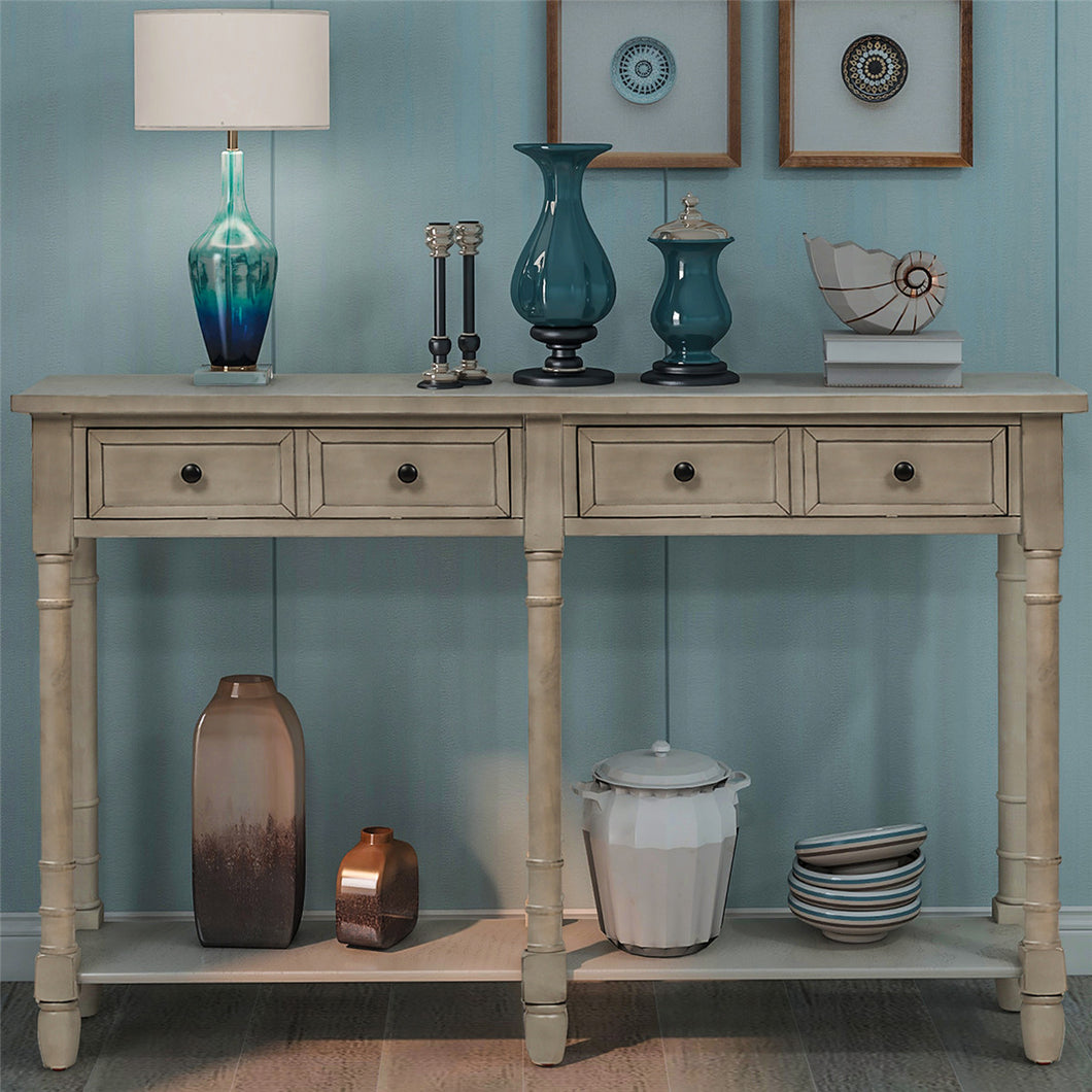 Console Table Sofa Table Easy Assembly with Two Storage Drawers and Bottom Shelf for Living Room