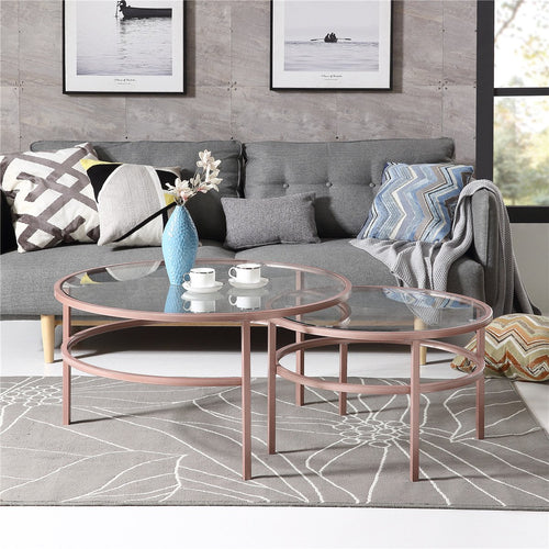 Crest Nesting Round 2 Piece Coffee Table Set | Elegant mid-century modern design | Glass