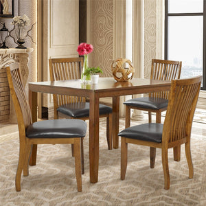Dining Chair Set with PU Covered Cushion and Solid Wood Legs | Set of 4 | Chairs Only