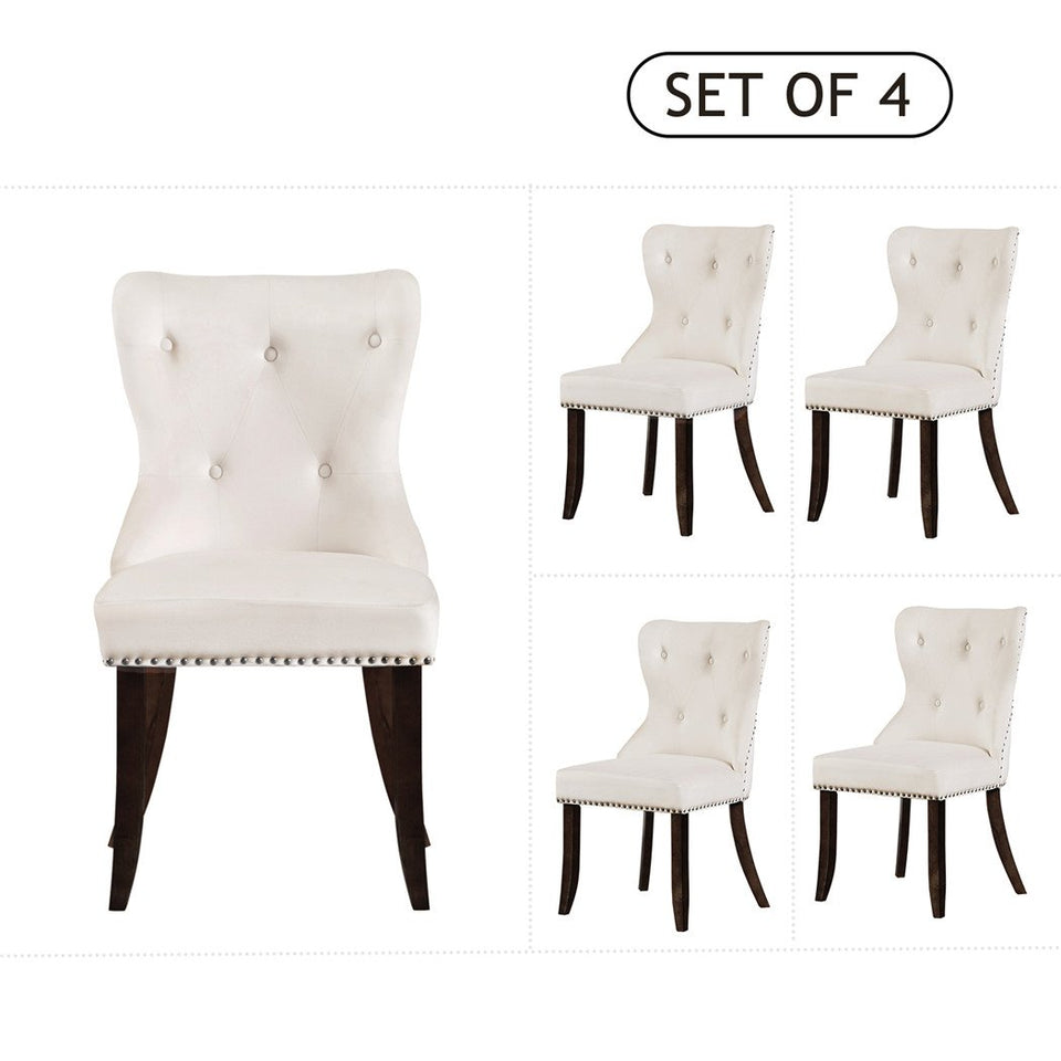 Dining Chair Tufted Armless Chair Upholstered Accent Chair | Set of 4