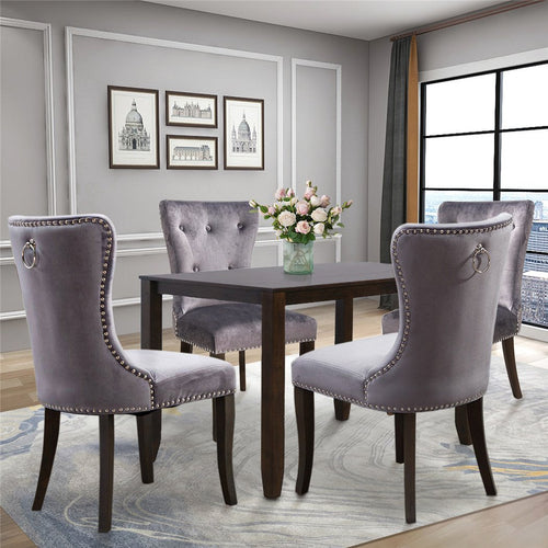Dining Chair Tufted Armless Chair | Upholstered Accent Chair | Set of 4 Grey