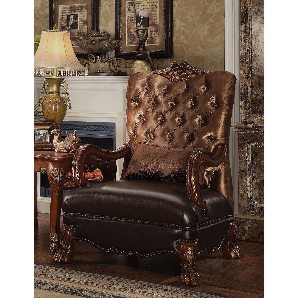 Dresden Chair with 1 Pillow in Golden Brown Velvet and Cherry Oak