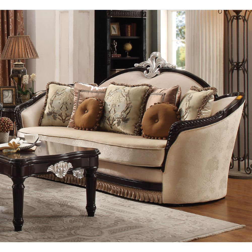 Ernestine Sofa with 7 Pillows in Tan Fabric and Black