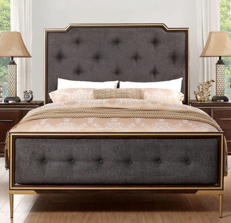 Eschenbach Queen Bed in Charcoal Fabric | Cherry