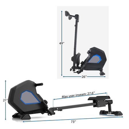 Foldable Magnetic Rower Rowing Machine with 8 Resistance for Full Body Exercise