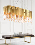 Golden Rectangular French Crystal Lamp