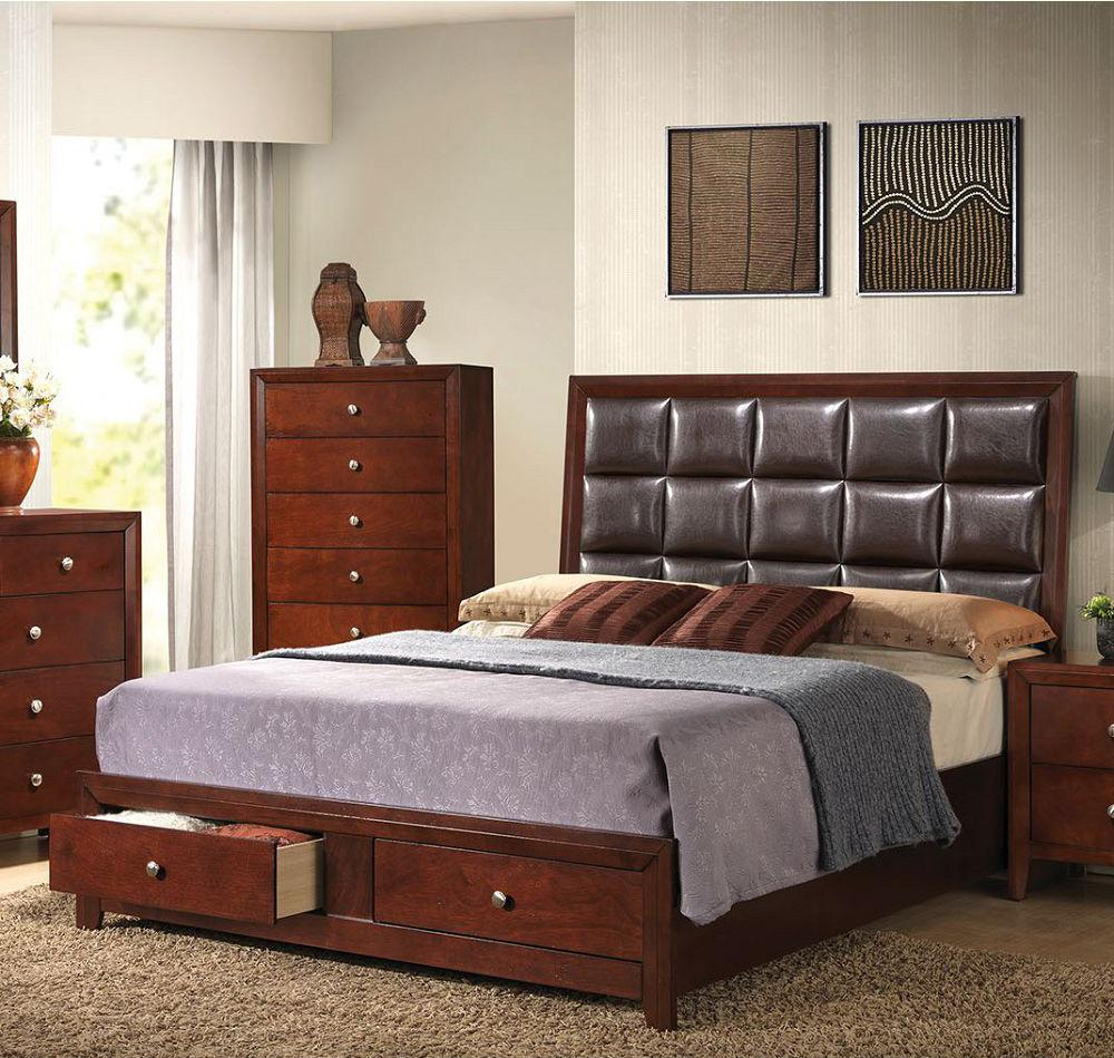 Ilana Queen Bed in Brown PU | Brown Cherry