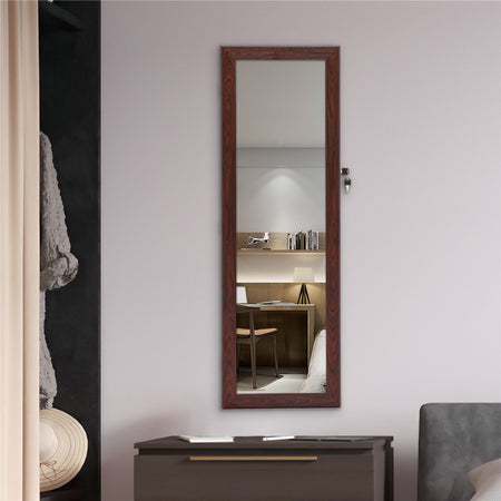 Jewelry Storage Mirror Pendant Cabinet in Brown