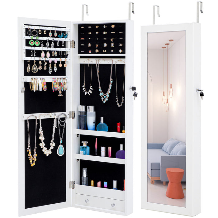 Jewelry Storage Mirror Pendant Cabinet in White