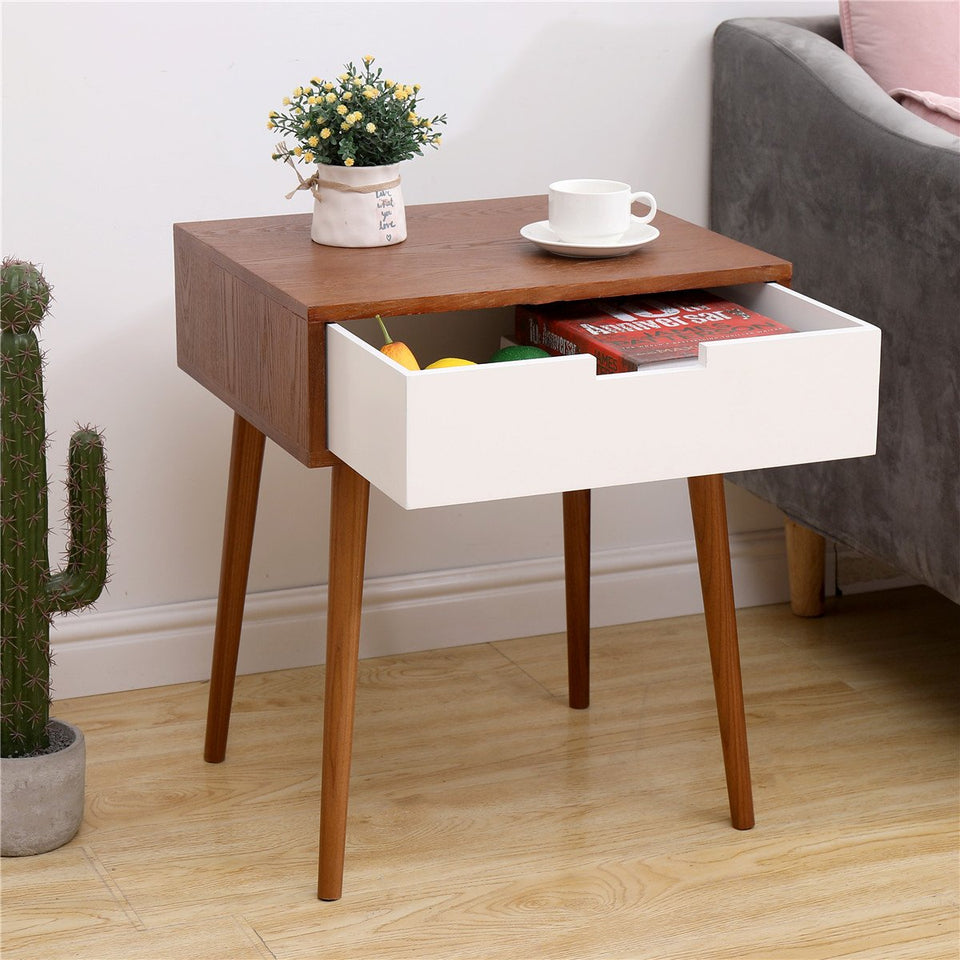 Light Fraxinus Mandshurica | White Side End Table Nightstand with Drawer