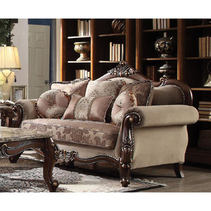 Mehadi Loveseat with Pillows in Velvet and Walnut