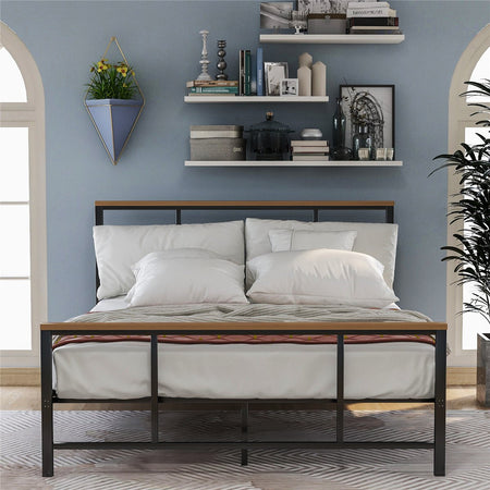 Metal Bed with Wood Decoration