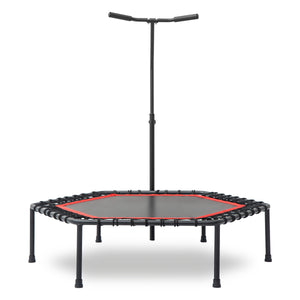 48 inch Mini Fitness Trampoline with Adjustable Handrail Bar Red