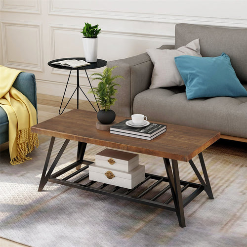 Modern Coffee Table | Easy Assembly Tea Table Cocktail Table with Lower Shelf for Living Room