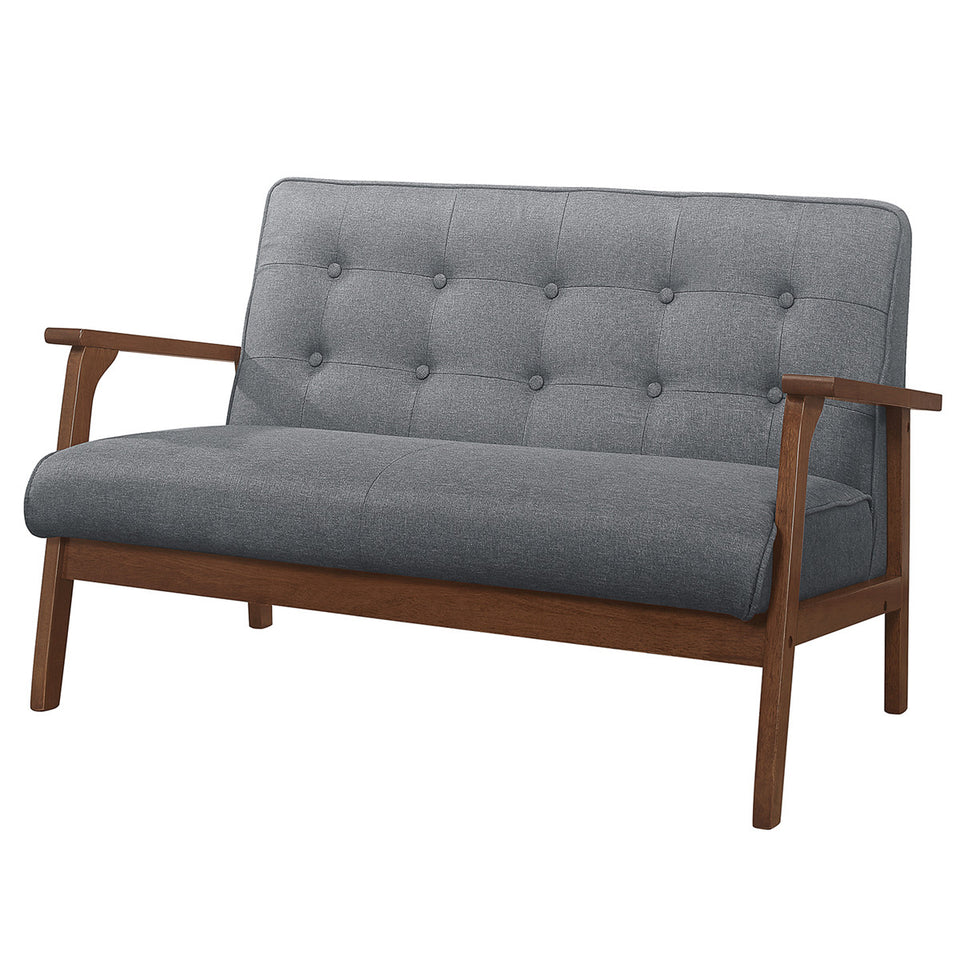 Modern Solid Loveseat Sofa Upholstered Fabric 2-Seat Couch Dark Gray