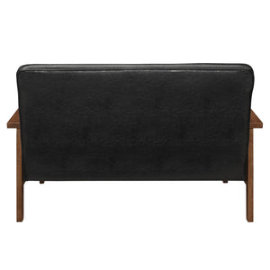 Modern Solid Loveseat Sofa Upholstered PU Leather 2-Seat Couch Black