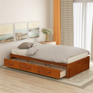Platform Storage Bed with 3 Drawers Storage Twin Size