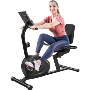 Recumbent Exercise Bike with 8-Level Resistance | Bluetooth Monitor | Easy Adjustable Seat
