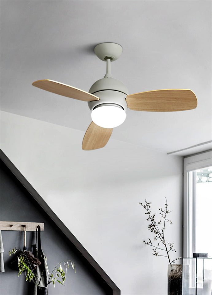 Remote Control Wood Leaf Fan Chandelier