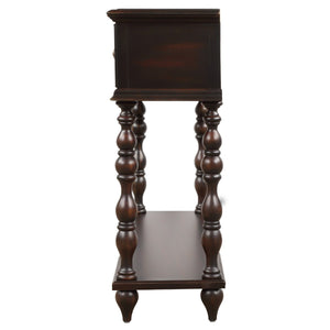 Rustic Console Sofa Table Antique-inspired Design with two Exquisite Drawers and Bottom Shelf