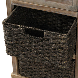 Rustic Storage Cabinet with Two Drawers and Four Classic Fabric Basket for Living Room