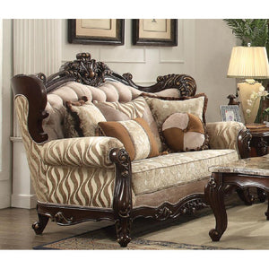 Shalisa Loveseat with 5 Pillows in Fabric and Walnut