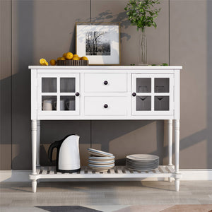 Sideboard Console Table with Bottom Shelf | Farmhouse Wood Buffet Storage Cabinet Living Room