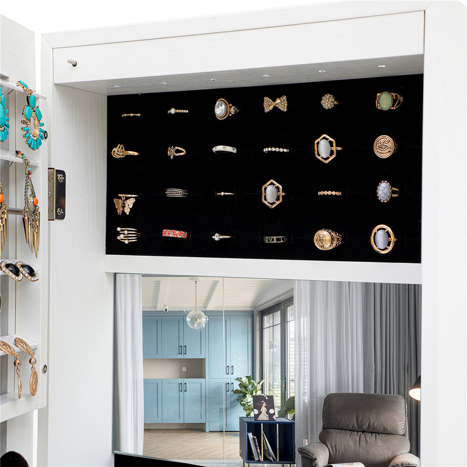 Simple Jewelry Storage Mirror Cabinet in White With LED Lights