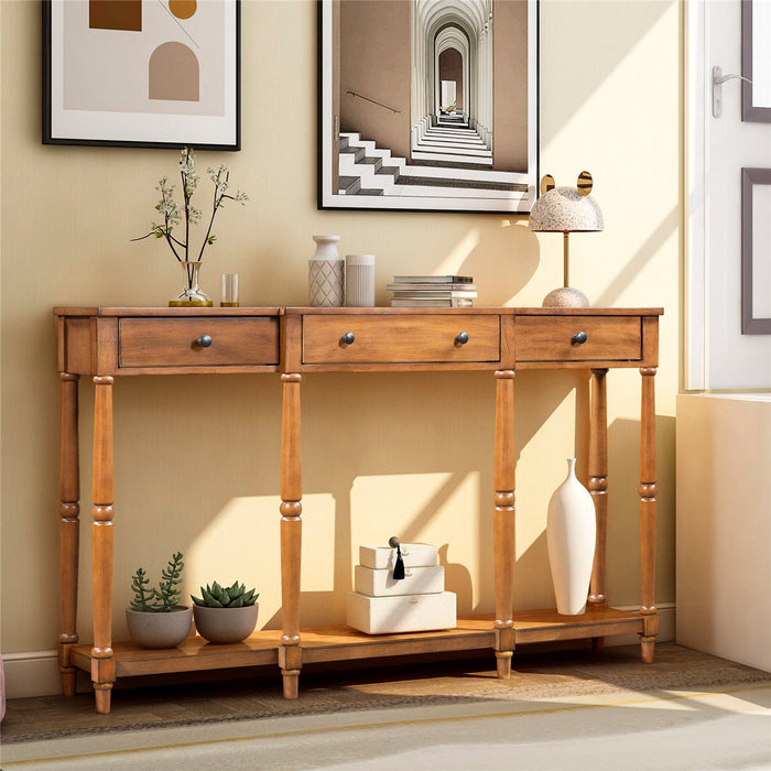 Solid Wood Console Table in Brown