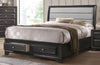 Soteris Queen Bed in Gray Fabric | Antique Gray