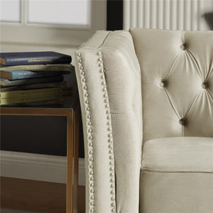 Tufted Living Room Sofa Set with Nailheads