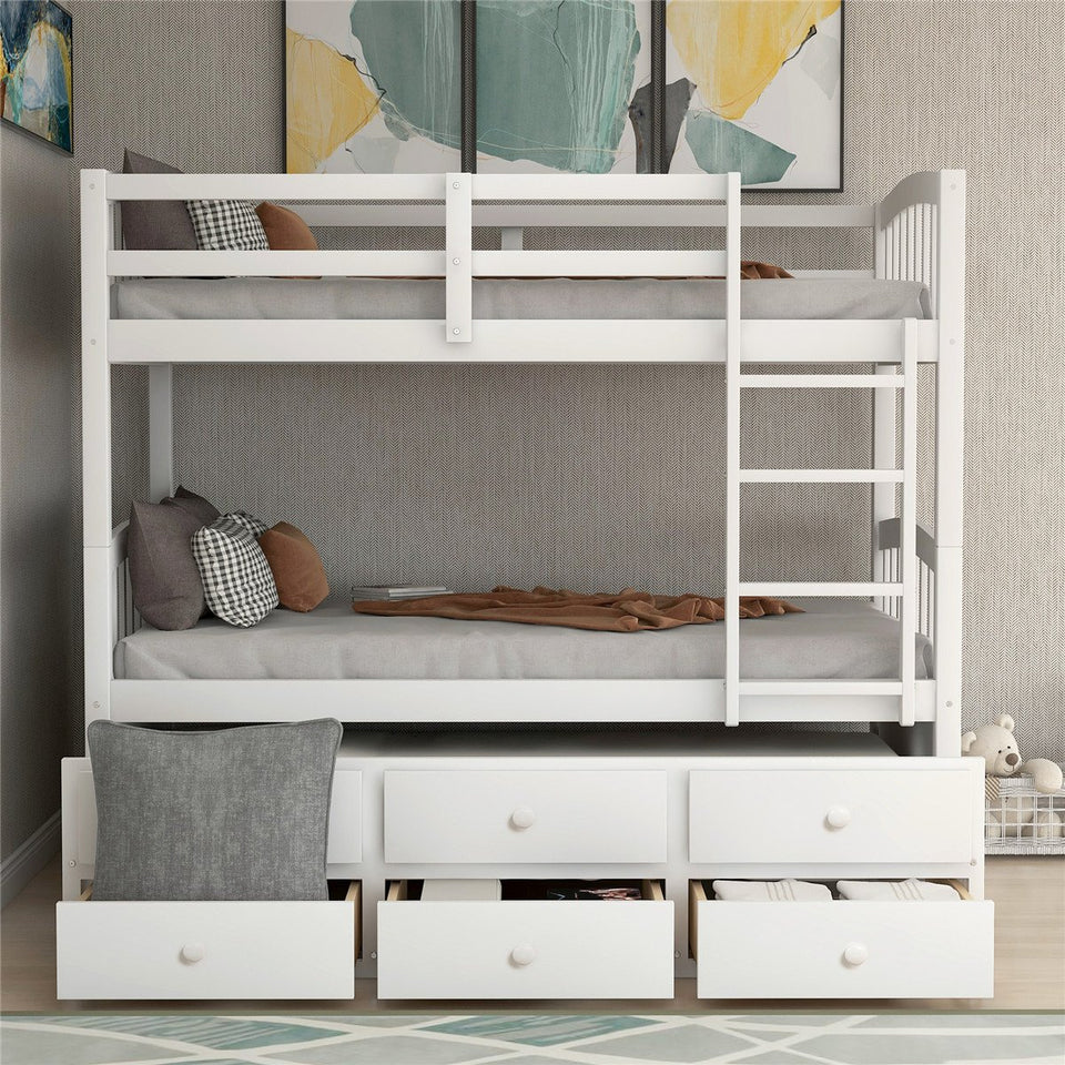 Twin Bunk Bed with Ladder | Safety Rail  | Twin Trundle Bed with 3 Drawers