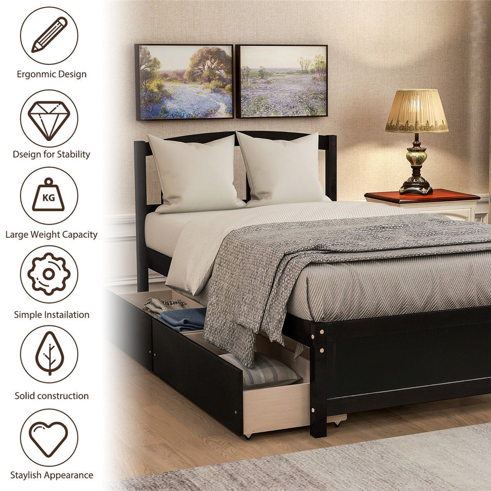 Twin Platform Storage Bed Wood Bed Frame with Two Drawers and Headboard