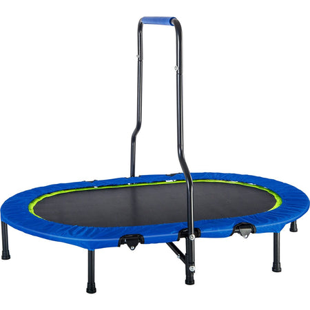 Twin Trampoline with Handrail and Safety Cover | Mini Trampoline | No-Spring Band Rebounder