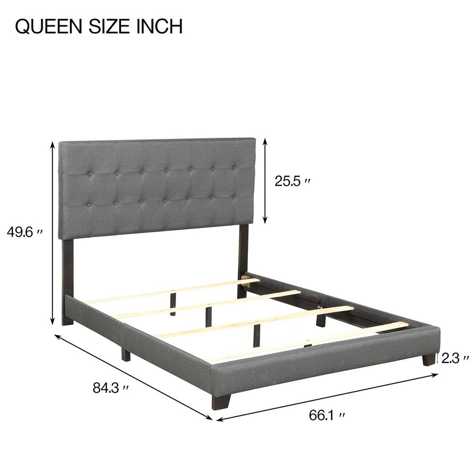 Upholstered Linen Stitch Tufted Platform Bed with Slat Support | Queen Sizes | Gray