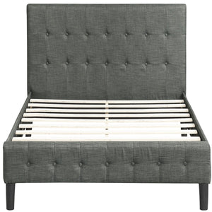 Upholstered Platform Bed with Wooden Slat Support and Tufted Headboard and Footboard
